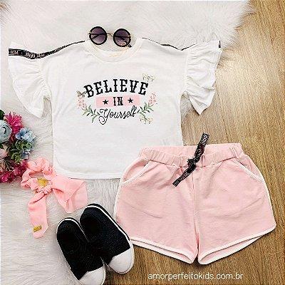 Conjunto de shorts infantil Petit Cherie verão believe charming rosa Tam 16