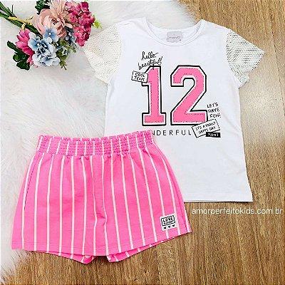 Conjunto infantil Momi t-shirt e short-saia listrada rosa neon