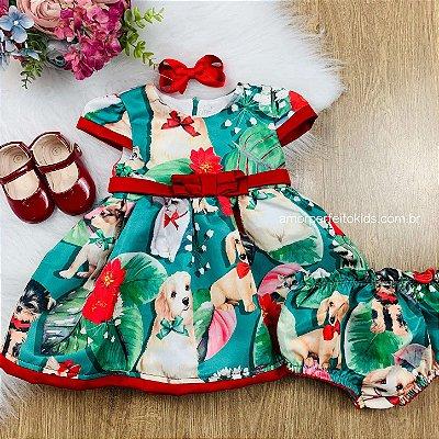 Vestido de festa bebê Mon Sucré pets fofinhos verde e vermelho