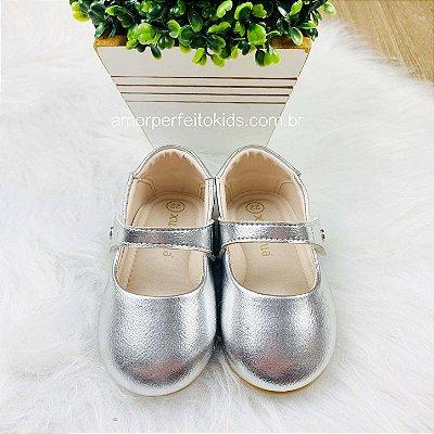 Sapato de bebê boneca Xuá Xuá prata Tam 22