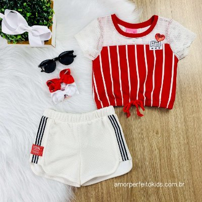 Conjunto Momi infantil blusa listrada e short em tela vermelho Tamanho 1
