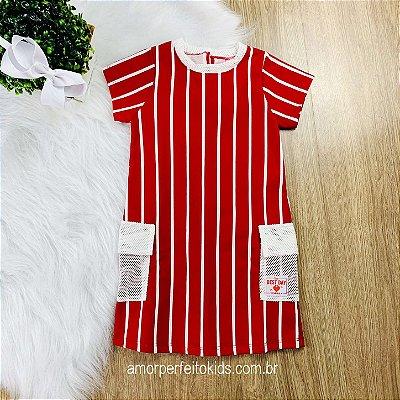 Vestido infantil Momi listrado vermelho