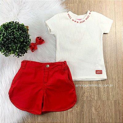 Blusa infantil Momi canelada miss off white