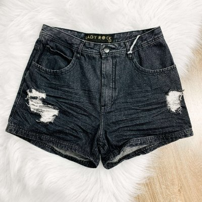 Short teen hot paint jeans preto destroyed Lady Rock Tam 42