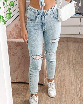 Calça jeans Teen Celine mom destroyerd rasgada cintura alta Tam 40