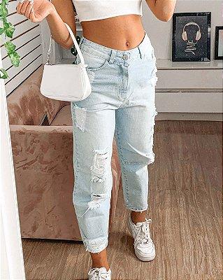 Calça jeans Haley Mom destroyed lavagem clara Lady Rock