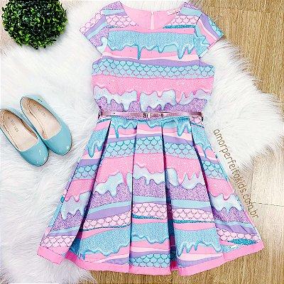 Vestido infantil sereia Mon Sucré lilas e rosa Tam 12