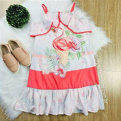 Vestido infantil Petit Cherie casual ciganinha flamingo rosa