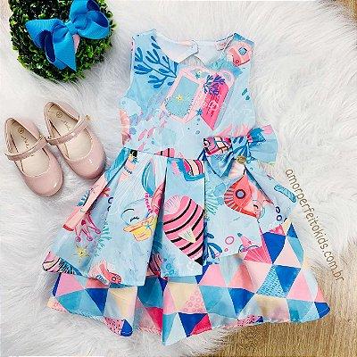 Vestido infantil Mon Sucré fundo do mar azul