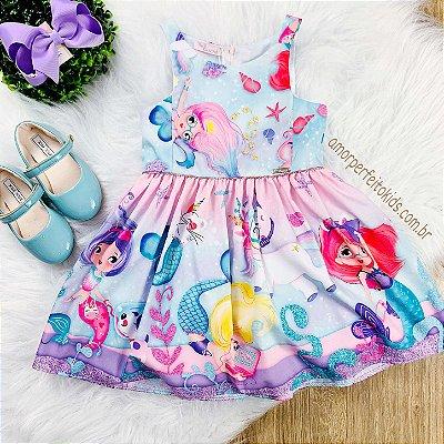Vestido infantil sereia Mon Sucré azul e rosa Tam 12