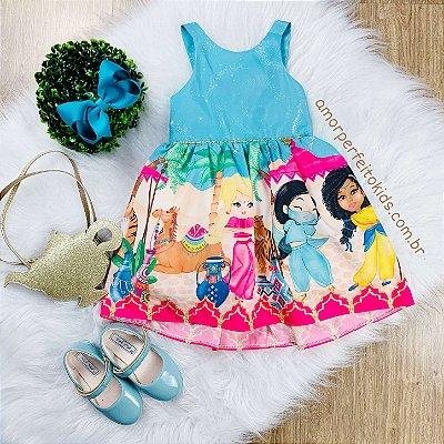 Vestido infantil Mon Sucré Aladdin com bolsinha dourada