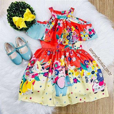 Vestido infantil Mon Sucré floral tropical coral