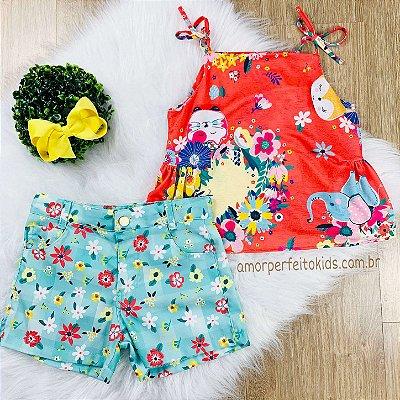 Conjunto de shorts infantil Mon Sucré floral tropical