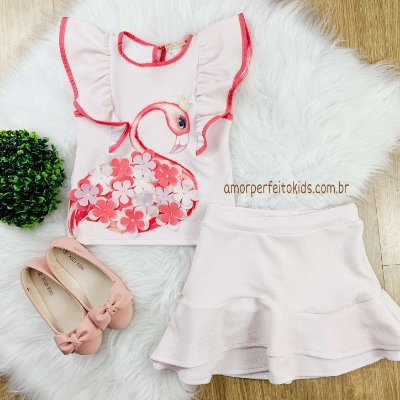 Conjunto infantil Petit Cherie blusa com saia flamingo