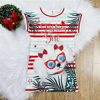 Vestido infantil casual Petit Cherie cachorrinho fashion girl tam 4