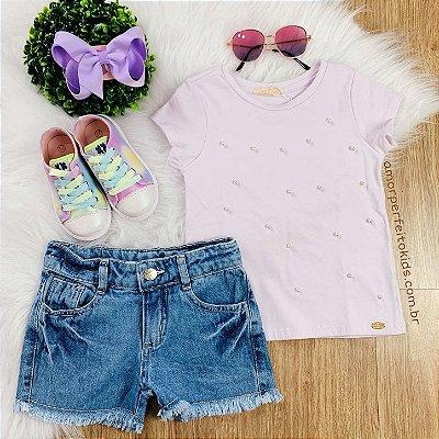 Blusinha infantil Petit Cherie com pérolas lilás