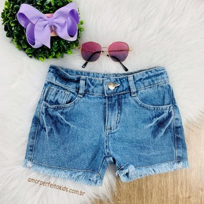 Shorts jeans infantil Mon Sucré desfiadinho menina