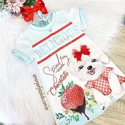 Vestido infantil casual Petit Cherie cachorrinho e morangos