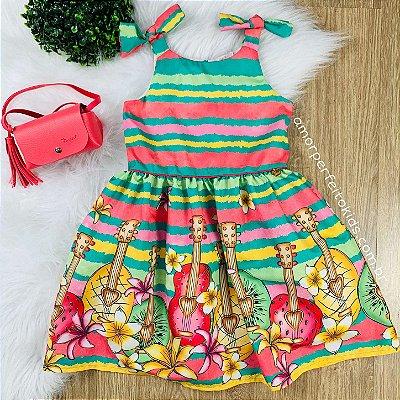 Vestido infantil Mon Sucré hula-hula Moana com bolsinha pink e verde