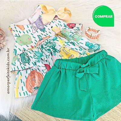 Conjunto infantil Petit Cherie blusa com short vegetais