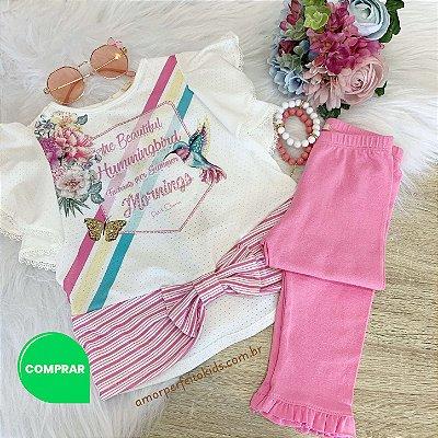 Conjunto Infantil Petit Cherie Blusa e Legging Rosa Beija-flor Tam 1