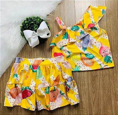 Conjunto infantil Mon Sucré saia e blusa vegetais e sorvete Tam 2