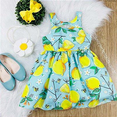 Vestido infantil Mon Sucré limão siciliano com bolsa de flor azul e amarelo
