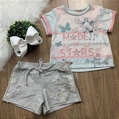 Conjunto infantil casual Petit Cherie blusa unicórnio com short lurex Tam 12