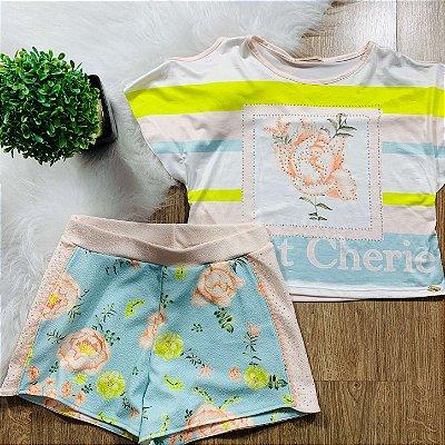 Conjunto infantil casual Petit Cherie blusa e shorts neon Tam 12