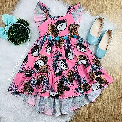 Vestido infantil rosa Mon Sucré mullet de coco folhagem Tam 2