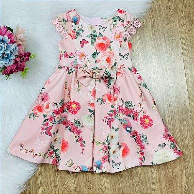 Vestido infantil de festa Petit Cherie pássaros e flores