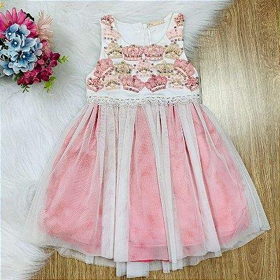Vestido infantil de festa petit cherie princesa coroas bordadas rosa