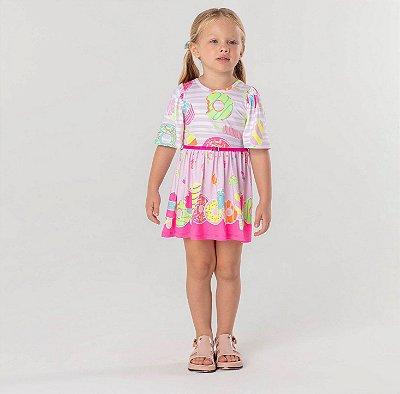 Vestido infantil Mon Sucré candy summer doces neon