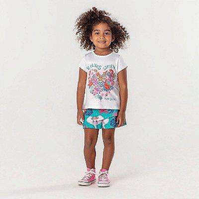 Conjunto infantil Mon Sucré blusinha floral com short bichos verde