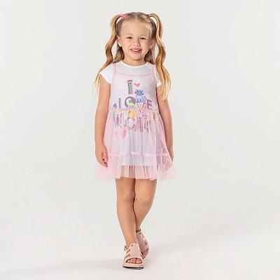 Vestido infantil Mon Sucré sobreposição em tule rosa cat lovers