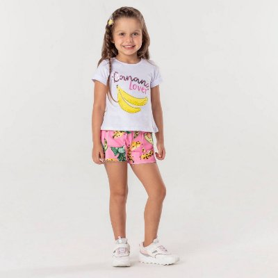 Conjunto infantil Mon Sucré blusinha banana lover com shorts de frutas rosa