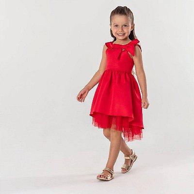 Vestido infantil de festa Mon Sucré mullet vermelho liso Tamanho 3