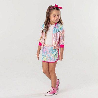 Conjunto infantil Mon Sucré jaqueta corta-vento e saia coqueiros rosa