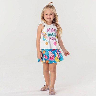 Conjunto infantil Mon Sucré blusinha e short-saia sorvete azul e rosa