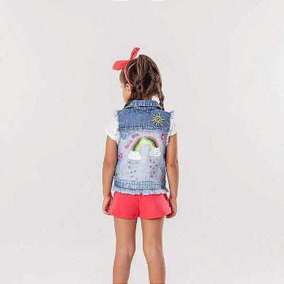 Colete infantil Mon Sucré jeans destroyed arco-íris neon