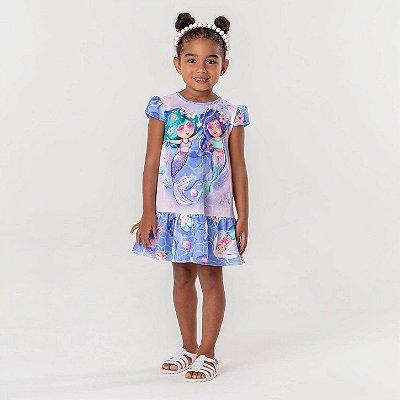 Vestido infantil Mon Sucré casual sereia lilás
