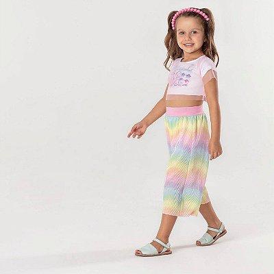 Conjunto infantil Mon Sucré cropped e pantacourt colorida sereia Tam 2