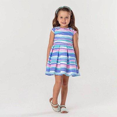 Vestido infantil Mon Sucré festa de sereia com bolsinha de conchinha azul e rosa