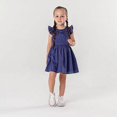 Vestido de festa infantil Mon Sucré Azul marinho liso