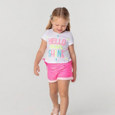 Conjunto infantil neon Mon Sucré busa hello sun shine shorts moletom rosa