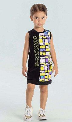 Vestido infantil Petit Cherie Colorfull paetês mágicos preto