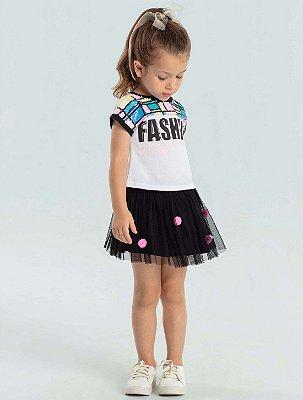 Conjunto infantil Petit Cherie blusa fashion paetês com saia tule pompom preto