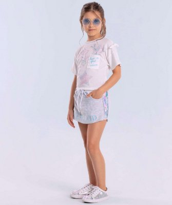 Conjunto infantil Petit Cherie blusa sereia short saia moletom e paetês Tam 6