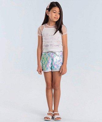 Conjunto infantil de menina Petit Cherie regatinha com tule e short moletom paêtes sereia