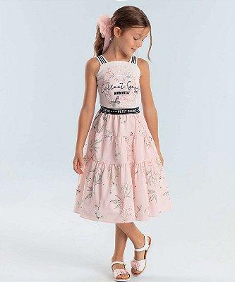 Conjunto infantil Petit Cherie cropped canelado e com saia midi rosa floral